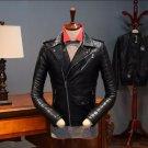 M-3XL HOT New retro winter men\'s British Youth Band oblique zipper short coat motorcycle leather ja