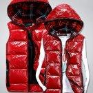 Winter fashion shiny leather plaid short male/female/couple/lover down cotton vest waistcoat men/wom