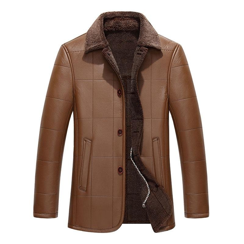 New Arrivals 2016 Winter Men\'s Casual Leather Jacket Single Breasted Men Faux Leather Jackets Faux