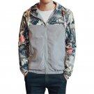 Plus Size L-4XL Mens Coats Long Sleeve Floral Printed Zipper Slim Jackets Hooed Coats Hip Hop Windbr