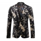 Fashion Suit for Men Pattern Flower Spring and Autumn Velveteen High Quality Formal Blazer Brand Coa