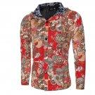 Fitness Hooded Jackets Men Long Sleeve Autumn Winter Coats 2017 V-Neck Floral Printed Slim Mens Coat