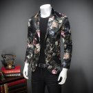 Mens Floral Blazer Luxury Velvet Blazer Men Costume Homme Flower Blazer Male Jackets and Coats Weddi