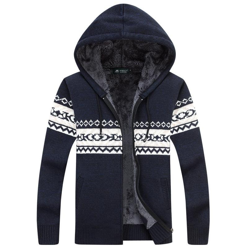 Winter Warm Thick Mens Sweaters /  Casual Fleece Knitted Sweater coat Men Designer Hooded Cardigans