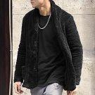 Winter 2017 Mens new design warm black cardigan slim cotton with pockets metrosexual man plush furry