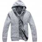 Hot 2017 new Men\'s Fashion winter Knitted jacket Coat Cotton Hooded thick white cardigan sweater Sw