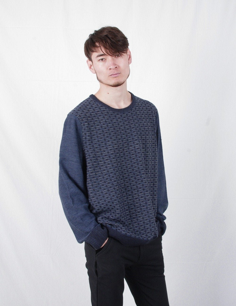 New Geometric O-Neck Long Sleeve Computer Knitted Casual Men Male Pullover Sweater Jerseys Coat Men