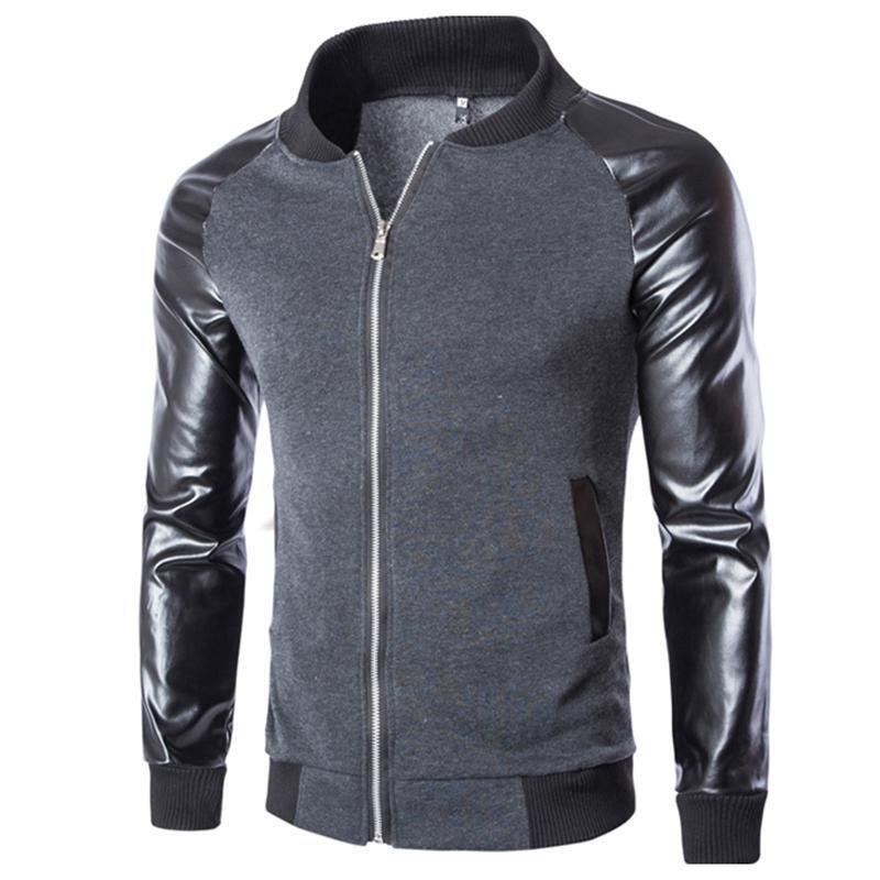 2016 New Arrival Fashion Men\'s PU Leather Mandarin Collar Sleeves Patchwork Baseball Jacket Coat La
