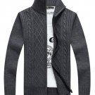 Mens Autumn Winter Warm Pure Color Cardigan Sweater Men Cotton Casual Turn-Down Collar Jumpers Coat