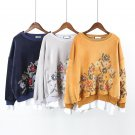 Autumn Winter New Student Pullovers Shirt Women Loose All-match Embroidery Stitching False Two Piece