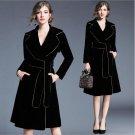 Autumn Trench Coat For Women Long Vintage Turn-down Collar Slim Ladies Winter Velvet Coats Womens Wi