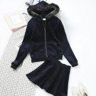 Winter Velvet Clothing Set Women Leisure Velvet Hooded Fur Collar Sweatshirt Hoodies Coat + Skirt Su