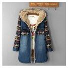 Women Denim Winter Coat 2017 Casual Loose Print Patchwork Plus Velvet Thick Outerwear Tops Warm Long