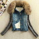 Hot Winter New 2015 Female Faux Fur Collar Knitted Sleeve Thick Velvet Lining Warm Denim Jacket  Wom