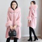 MUMUZI  Fashion women\'s pink fake faux fur hooded long coat parkas outwear fur velvet warm thick li