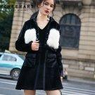 Cheerart 2 Piece Set Women Velvet Leisure Suit Black Jacket Coats And Sleeveless Dress Set With Fur