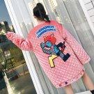 TREND-Setter 2017 Winter Cartoon Pink Coat Women Funny Embroidery Letter Pattern Long Loose Velvet T