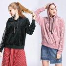 Comfortable velvet hoodies woman coat winter cute tops hooded sweatshirt female letters pink pullove