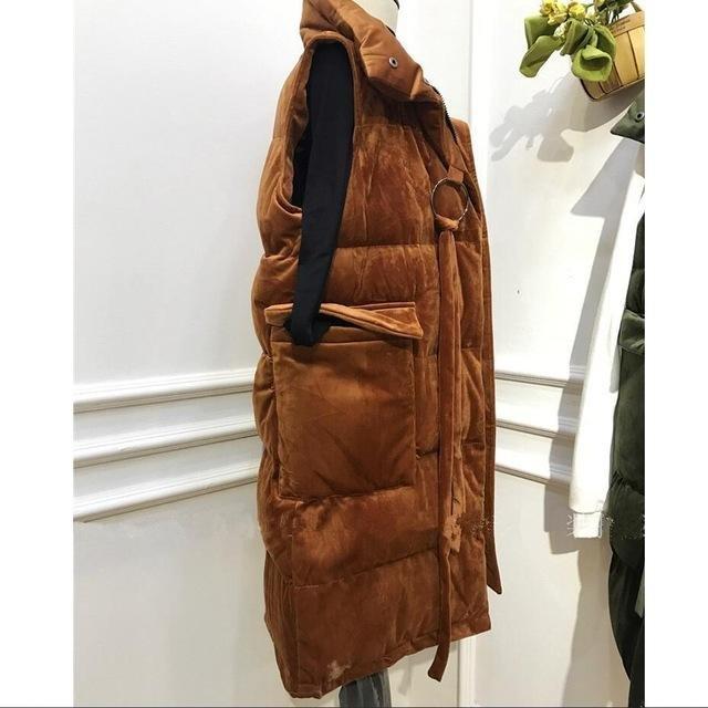 Cotton Padded Vest Women 2017 New Velvet Coat Winter Loose Ladies Long Vests Sleeveless Long Vests T