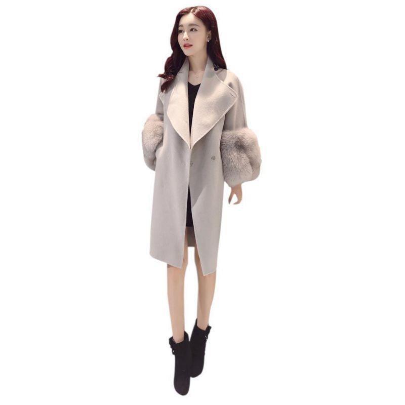 Women Woolen Winter Warm Jacket Coat Cardigan Faux Fur Sleeve Long Sleeve Parka Outwear Female Slim