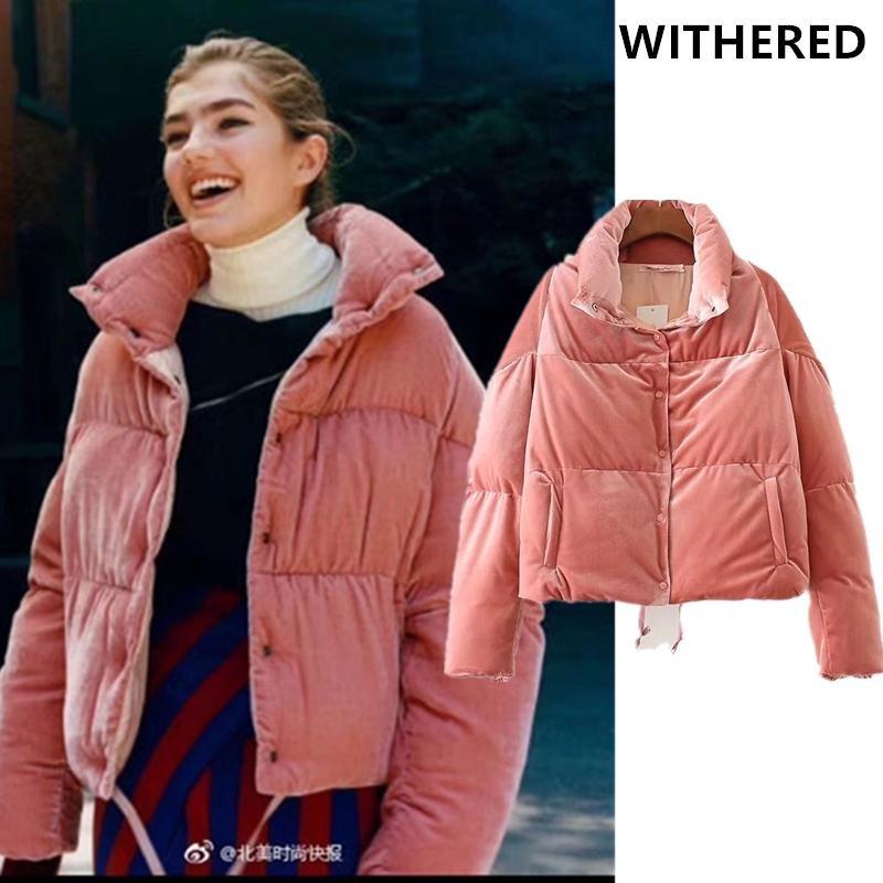 Withered 2017 BTS winter jacket women parkas vintage velvet pink color thick keep warm batwing sleev