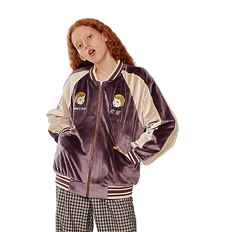 Autumn Winter Woman\'s Velvet Thick Coat Baseball Uniform Jackets Long Sleeve Patchwork Color Cartoo