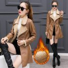 New Woman Overcoat Slim Top PU Leather With Velvet Thickening Warm Coat Winter Women Swear Long Brie