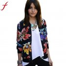 Fashion Autumn Winter Women Long Sleeve Floral Printed Zipper Suit Jacket Outerwear Harajuku Black C