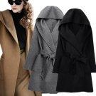2016 New Winter Women Wool Coat Long Sleeve Two Sides Wear Belted Loose Warm Woolen Jacket Hooded Ou
