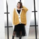 Autumn Winter Trendy Loose Knitting Coat New Pattern Hit Color V-neck Long Sleeve Knitting Jacket Fa