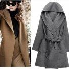 Uwback Women Coat Woolen Coat Long for Women Autumn Winter Warm Trench Coat Camel Mujer Belted Coat