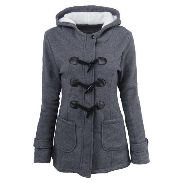 New Women Winter Keep Warmth Casual Coat Hooded Fashion Slim Turn-down Collar Female Long Sleeve Poc