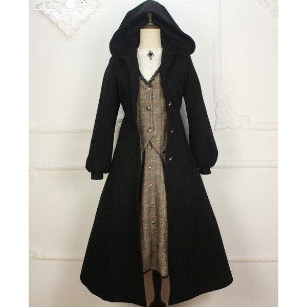 Custom Tailored ~ Vintage Women\'s Hooded Long Wool Coat Gothic Trench Coat by Miss Point