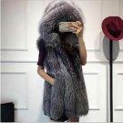 Ukraine Women Long Fake Mink Fur Vest Waistcoat gothic Gray hooded Coat jackets female elegant Luxur