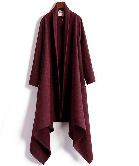 Woolen Long cardigan ON SALE leisure coat 110cm long design warm gothic open front long cardigan coa