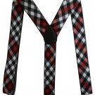 Free Shipping 2017 New Fashion 3.5 cm Wide Men Black Red White Plaid Clip-on Suspenders Elastic Brac