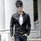 black new 2014 autumn winter Euro fashion brand men\'s slim motorcycle jacket casual male plus velve