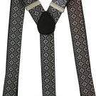 2017 New Vintage 3.5cm Wide Adjustable Brown Geometric Elastic Suspender Braces For Mens