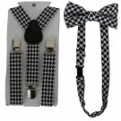 Free Shipping 2017 New Fashionable Toddler Kids Black White Houndstooth Bow Tie And Suspenders Sets
