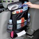 Onever Car Seat Back Hanging Bag Organizer Multi-pocket Insulated Food Water Storage Mesh Bag Contai