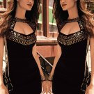 Gold Stamping Neck Black Mini Dress