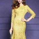 Yellow Fishtail Women\'s Lace Dress