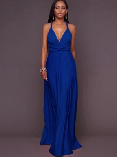 Plain Halter Lace up Women\'s Maxi Dress