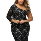 Black Raglan Sleeve Women\'s Lace Dress
