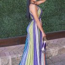 Lace up Stripes Women\'s Maxi Dress