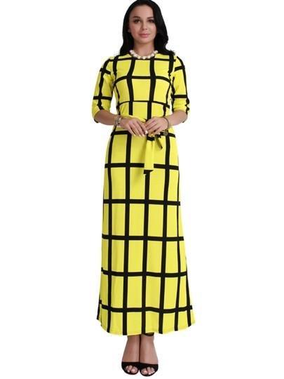 Lace up Plaid Women\'s Maxi Dress