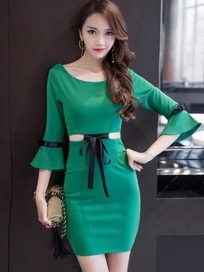 Lace up Bell Sleeve Women\'s Sheath Dress
