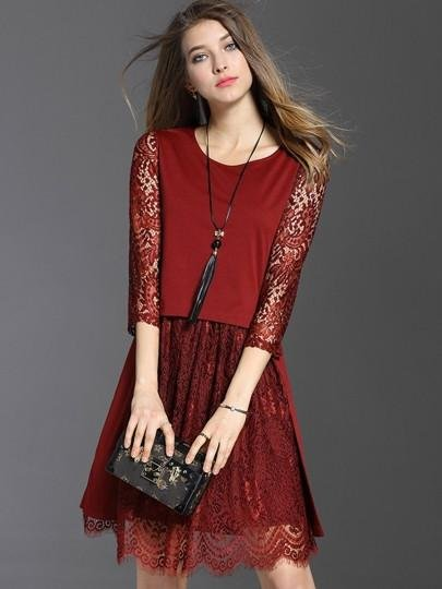 Double-Layered Half Sleeve Women\'s Lace Dress