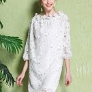 Elegant Straight Three-Quarter Sleeve Ankle-Length Women\'s Lace Dress