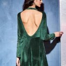 Round Neck Backless A-Line Day Dress
